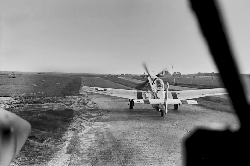 North American photo reconnaissance F-6 Mustang taxiing to the runway