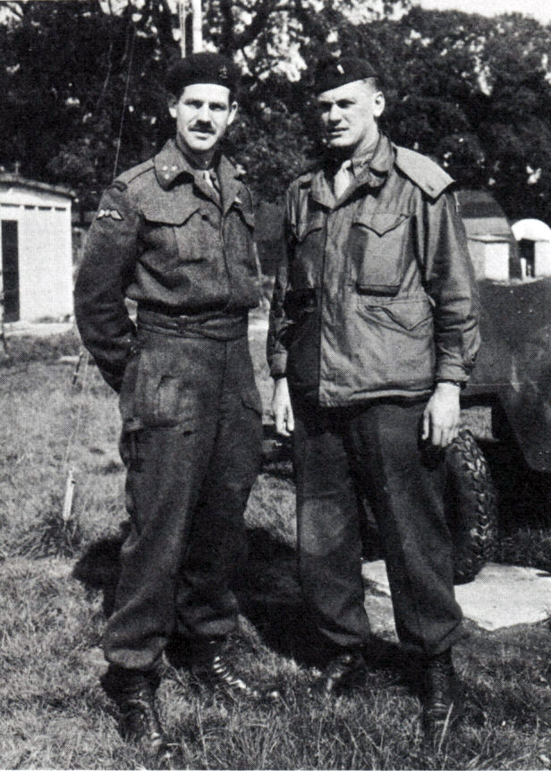 Captain Bestebreurtje (left) with George Verhaeghe shortly before departing for the Netherlands.