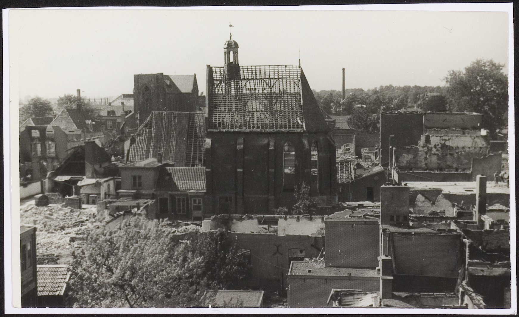 The badly damaged Lutheran church on Gasthuissteeg lane.