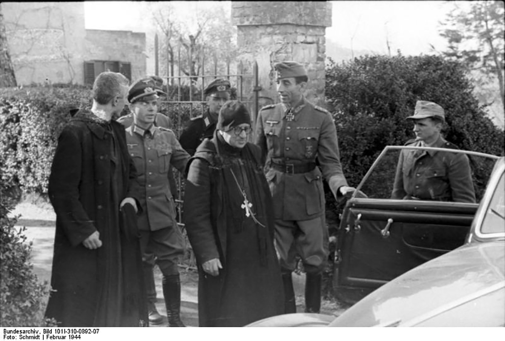 Germans escort the Abbot out of Montecassino Abbey